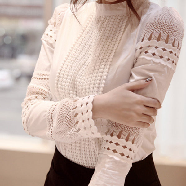 New Fashion Women Blouse Elegant Long Sleeve White Cotton Slim Crochet Hollow Lace Shirt Female