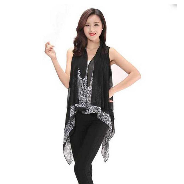 Women Irregular Print Blouse Chiffon Coat Shawl Cardigan Blouse Casual Female Women Tops