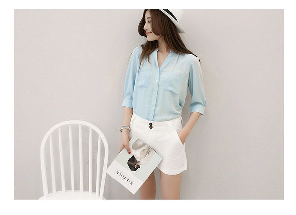Online discount shop Australia - Chiffon Blouses Shirts Women Blouse 3/4 Sleeve Blouse Woman Tops Fashion Clothing Female Ladies Office Shirts Brand Style