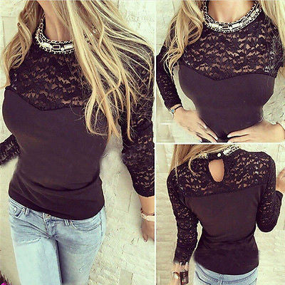 New Women's Embroidery Casual Long Sleeve Shirt Tops Loose Blouse Ladies Lace Casual