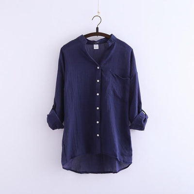 Online discount shop Australia - Women's Fashion Women Blouse Solid Button Linen  V-Neck Causal Women Blouse