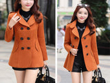 Women Woolen Coats Trench Coat Fashion Solid Double Breasted Overcoat Turn-down Collar Slim Outerwear