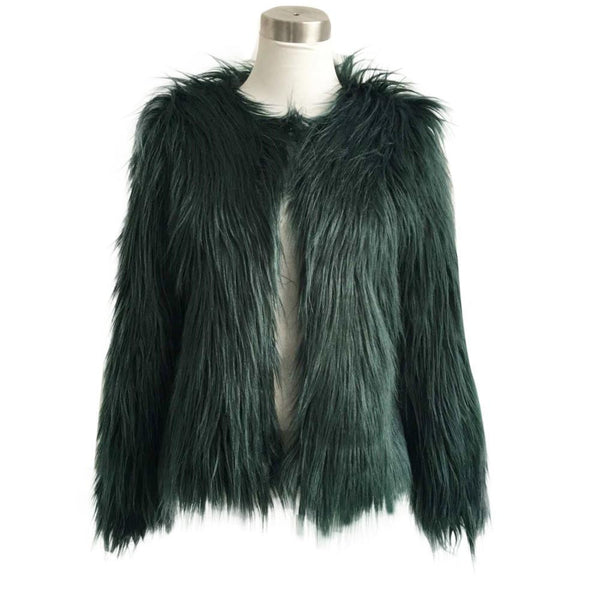 Women's Fashion Warm Faux Fur Fox Coat Jackets Casacos Long Sleeve Parka Hair Jacket Coat Outwear Plus Size