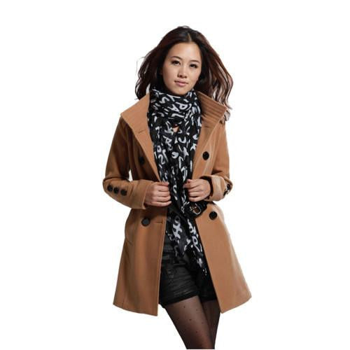 Women Warm Khaki Wool Coat Women's Fashion Outerwear Turn-Down Collar Solid Belt Thick Jacket