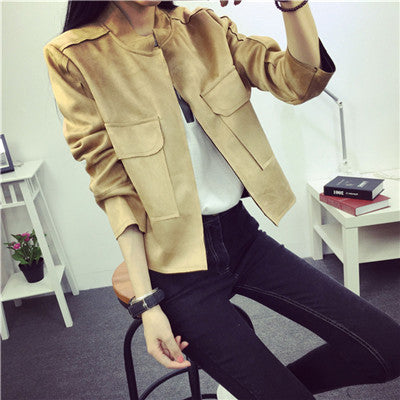 New High Street Ladies Soft Suede Jacket Women Vintage Faux Leather casual short Army Green Pink Outwear Tops Slim Wear