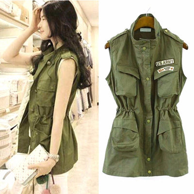 Women Jacket Drawstring Vest Military Parka Button Trench Coat Outwear