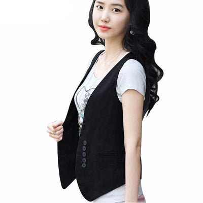 Women Vest Wardrobe Waistcoat Slim Cotton Vest Buttons Decoration Vests Female Sleeveless Waistcoat Women Clothing Colete