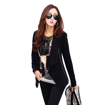 Women Zipper Slim Casual Long Sleeve Jacket Outwear Coat S/M/L/XL