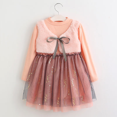 Online discount shop Australia - Girls Dress New Dresses Children Clothing Princess Dress Pink Long Sleeve Wool Bow Design Girls Clothes