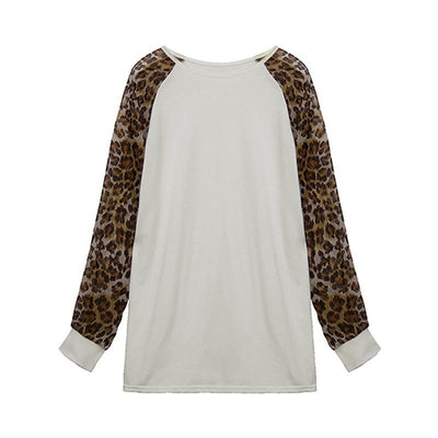 Women Ladies Long Sleeve Leopard Patchwork Loose Casual Tee Tops Casual Plus Size