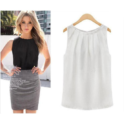 Sexy Fashion Women Lady Girls Elegant  Solid Collar Sleeveless Chiffon Vest Tank Tops Blouse Gift