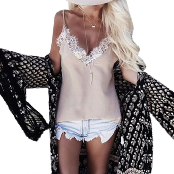 Women Ladies Vest Sleeveless Lace Tank Tops Casual Loose Backless Blouse