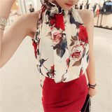 Women Shirt European Fashion Flowers Print Halter Sleeveless Ruffled Neck DH