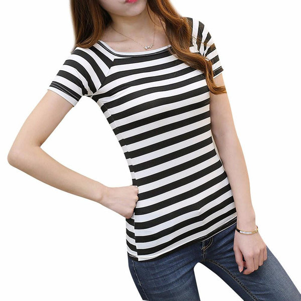 Women Fashion  Ladies Tshirt Sexy Crop Tops Striped Short sleeved Women Casual Clothing Slim Tops