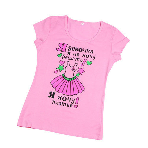 Fashion Cartoon Print Short Sleeve for Women Teenagers Cotton Top WT1010As the pictureLa