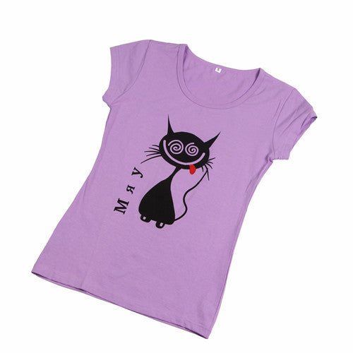 Fashion Cartoon Print Short Sleeve for Women Teenagers Cotton Top WT1010As the picture 1Sa