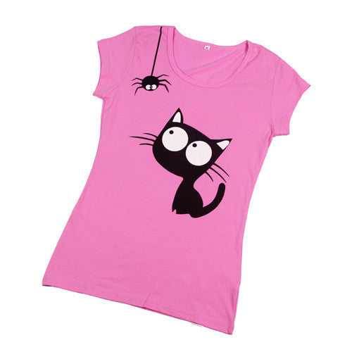 Fashion Cartoon Print Short Sleeve for Women Teenagers Cotton Top WT1010As the picture 2Sa