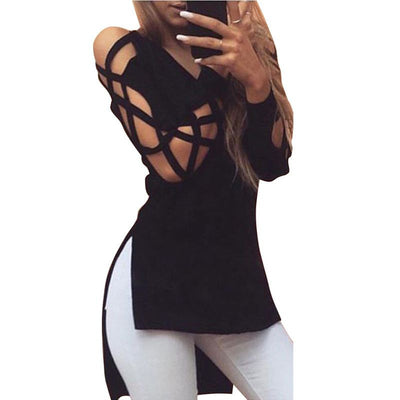 Fashion Women Tops Sexy Deep V Neck Criss Cross Long Sleeve Tee Shirts Plus Size