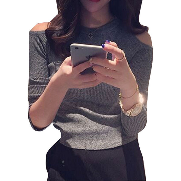 Long Sleeve Knitted Tee Shirt  Stretch Slim Off The Shoulder Tops For Women O Neck T Shirt Women