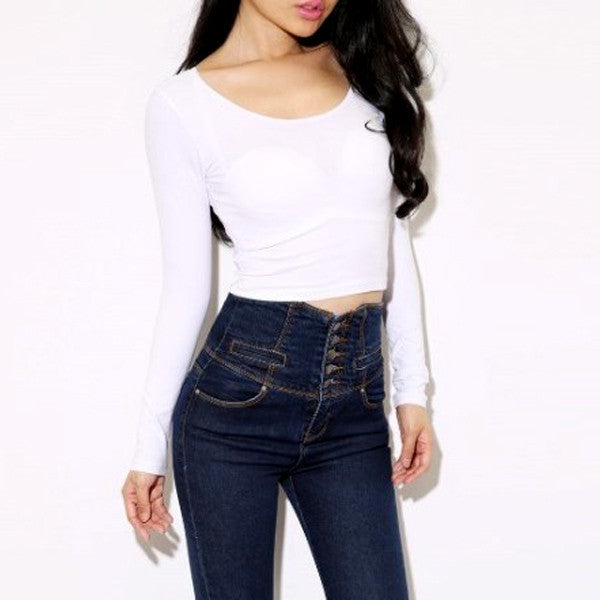 Online discount shop Australia - Fashion Sexy Women Crooped Tops Long Sleeve Clubwear Tops Cropped T-shirt LKT