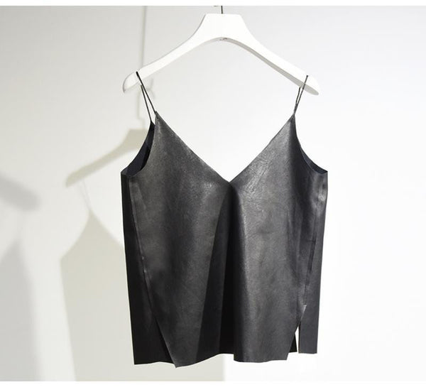 Women's Brief V Neck Camisole  Casual Ladies Faux Leather Bottoming Shirt Sides Splits Black Vest For Girls SH158