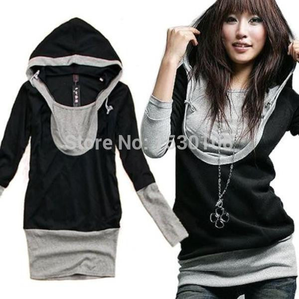 Online discount shop Australia - Korean  Women Casual Fashion Long Sleeves Cotton Hoody Pullover Outerwear Plus Size Sweatshirt CH127