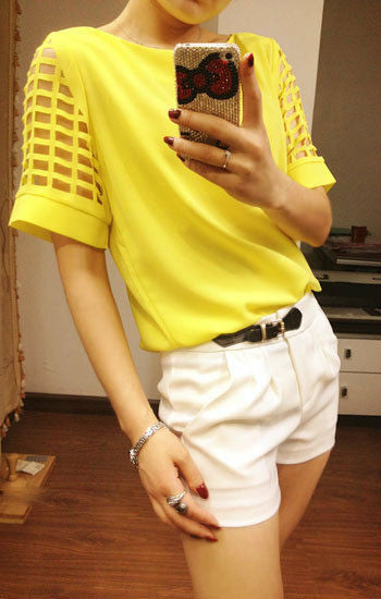 Online discount shop Australia - Candy Color Chiffon T Shirts Women O Neck Short Sleeve Tshirts Hollow out Casual Ladies Tops Woman Fashion Tees