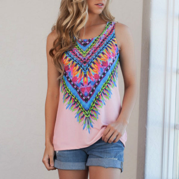 Online discount shop Australia - Fashion Digital Print Tank Tops For Women European Style Polyester Material T-Shirt X1