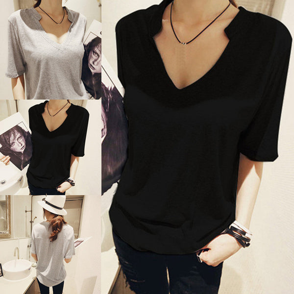 Online discount shop Australia - Fashion Women Plus Size  Loose Half Sleeve Shirt V-Neck Cotton Casual Tops T-Shirt S-XXL