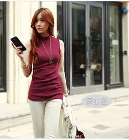Online discount shop Australia - brand new arrive women fashion sleeveless  cotton turtleneck solid tops tees  women 10 colors