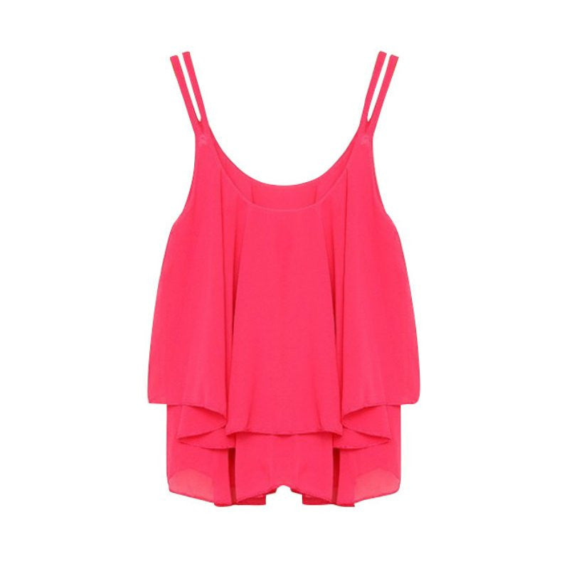 New Women Tank Tops Casual Chiffon Double Layer Sleeveless Loose Solid Crop Top Plus Size S-4XLrose redLa