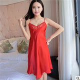 New women's nightgown sleepwear sexy lace slips ladies silk slip dress