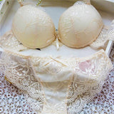 Woman Lace Sexy Floral Push-Up Panties Hollow Sweet Transparent Comfy Fit Bowtie Underwear Sleepwear Bra Set