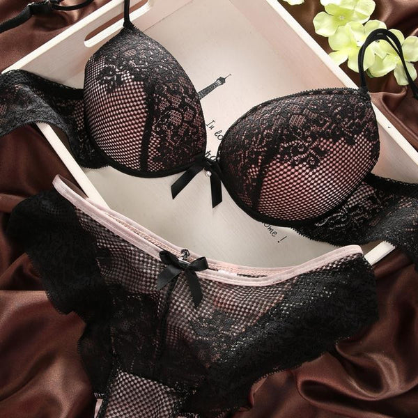 Sexy Women Lace Bra Set Cotton Embroidery Underwear Push Up Bra and Briefs