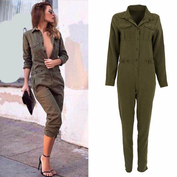 Women Jumpsuit Sexy Bodycon Party Lapel Long-sleeved Playsuit Trousers Stylish Army Green Rompers