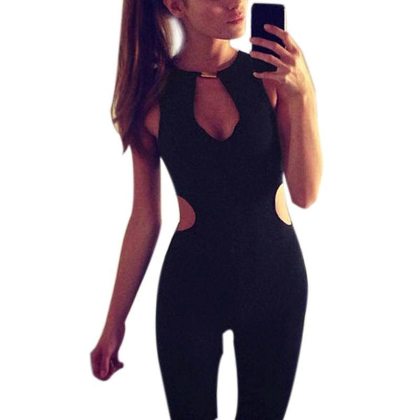 Sexy Women Jumpsuit Sleeveless Rompers Black Bodycon Long Overalls Slim Playsuits Bodysuits