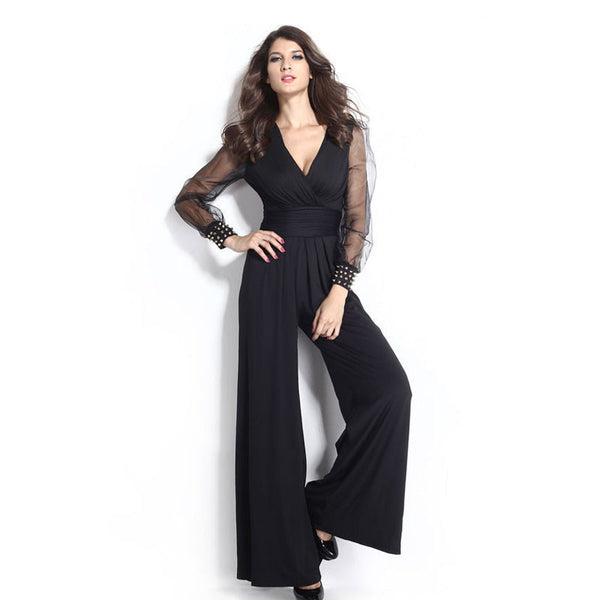 6b0a2d9e97 Party Black V-neck Embellished Cuffs Long Mesh Sleeves Loose Jumpsuit  rompers womens jumpsuit