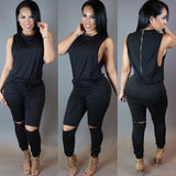 Womens Jumpsuit Full Bodysuit Overalls For Women Slim Sleeveless Black Bodycon Casual Rompers