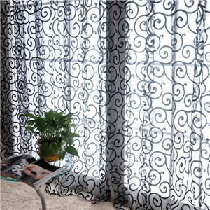 Special Pastoral Floral Tulle Voile Door Scarf Valances Drape Sheer Window CurtainsBlack1 x 2Ma