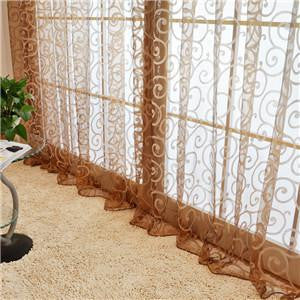 Special Pastoral Floral Tulle Voile Door Scarf Valances Drape Sheer Window CurtainsChocolate1 x 2Ma