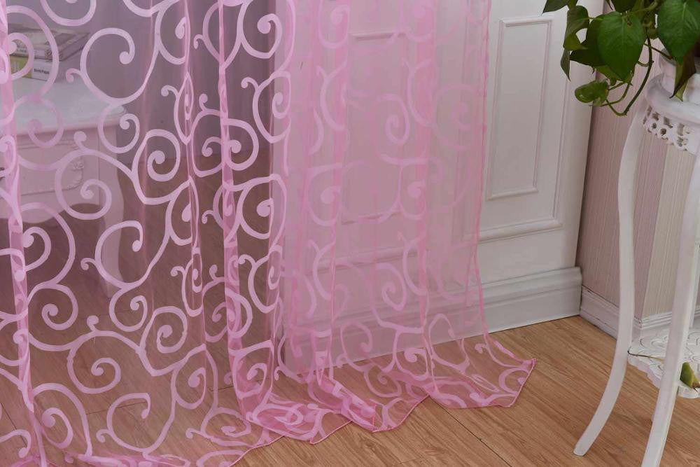 Special Pastoral Floral Tulle Voile Door Scarf Valances Drape Sheer Window CurtainsPink1 x 2Ma