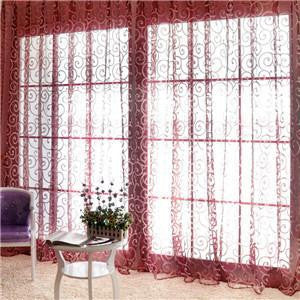 Special Pastoral Floral Tulle Voile Door Scarf Valances Drape Sheer Window CurtainsBurgundy1 x 2Ma