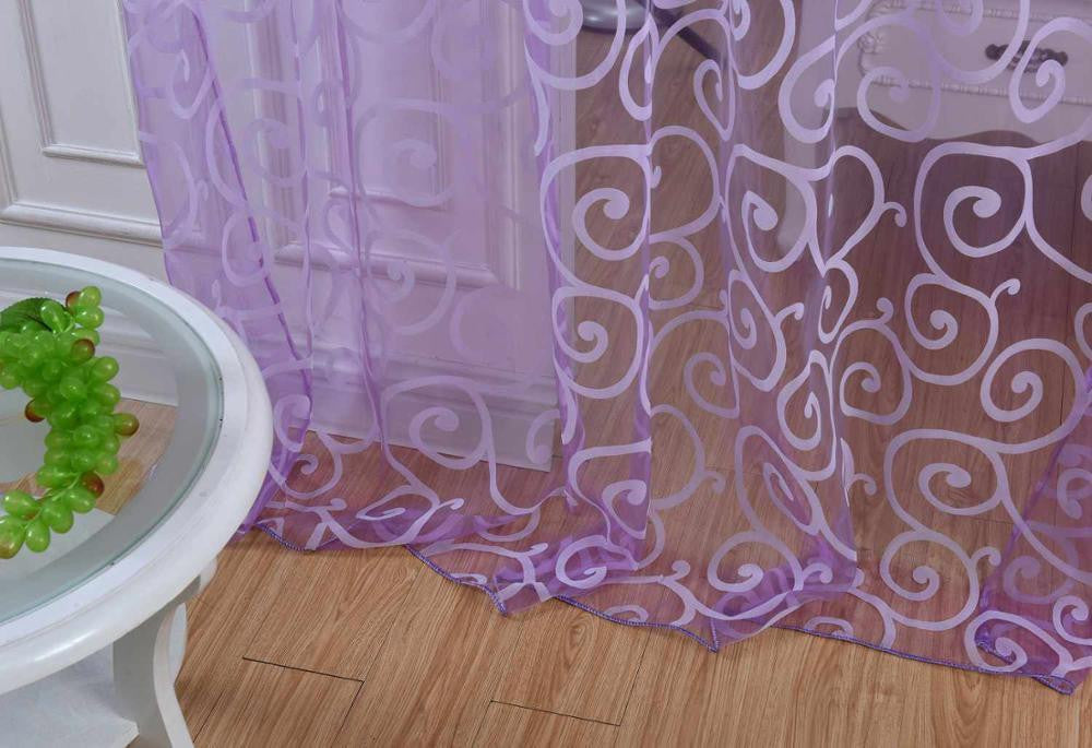 Special Pastoral Floral Tulle Voile Door Scarf Valances Drape Sheer Window CurtainsViolet1 x 2Ma