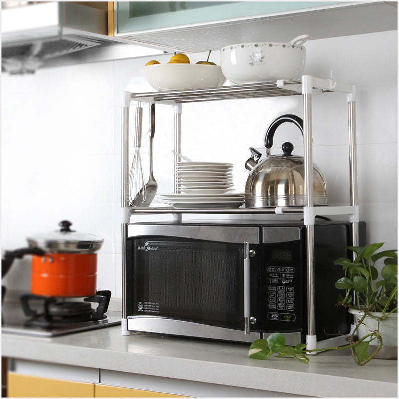 High Quality Stainless Steel Multifunctional Microwave Oven Shelf Rack  Adjustable Standing Type Double Kitchen Storage Holders