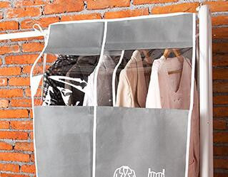 new large Garment Suit Coat Protector Wardrobe Creative high-end thick non-woven fabric widened dust cover clothing Storage BaggrayLa