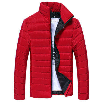 Online discount shop Australia - Men's Short Jacket Fashion Solid Color Stand Collar Down Coat Cotton Slim Warm Zipper Park Jackets for Men