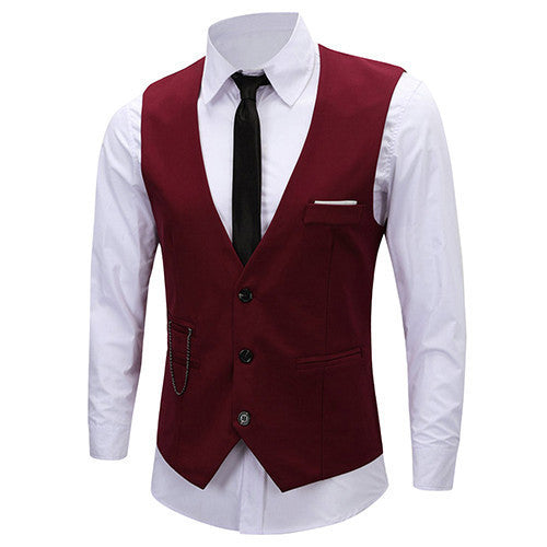 Online discount shop Australia - Men's Classic Formal Business Slim Fit Chain Dress Vest Suit Tuxedo Waistcoat