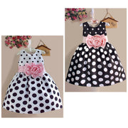 Online discount shop Australia - Girls Children's Clothes Party Casual Polka Dot Flower Gown Princess Fancy SLEEVELESS Dress Baby Kids Girls