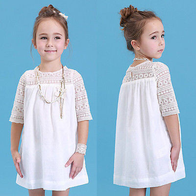 Online discount shop Australia - Kids Baby Girls White Chic Fairy Lace Floral Party Solid Gown Fancy Dresses Baby Casual Dress Clothes