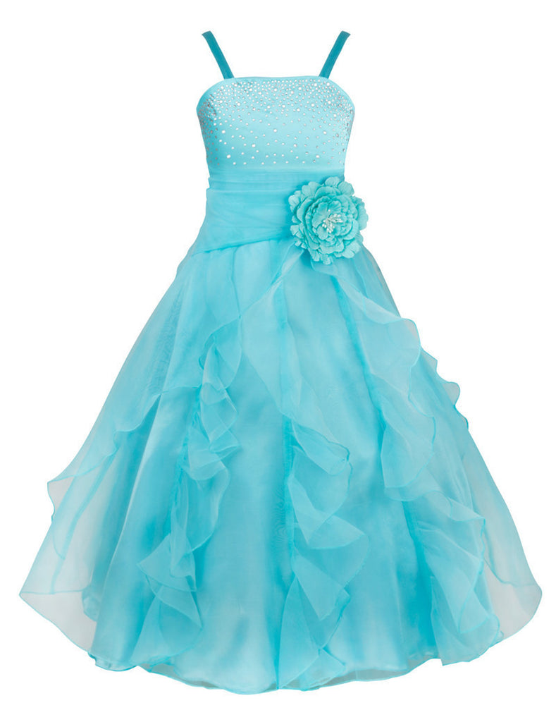 Kids Girls Embroidered Flower Bow Formal Party Ball Gown Prom ...